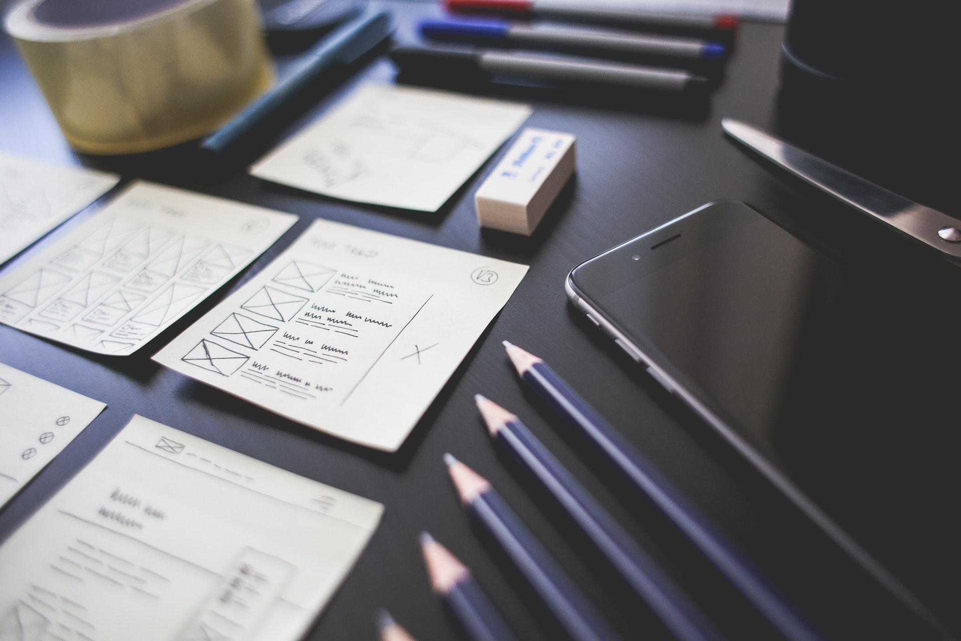 UX design mockups on paper