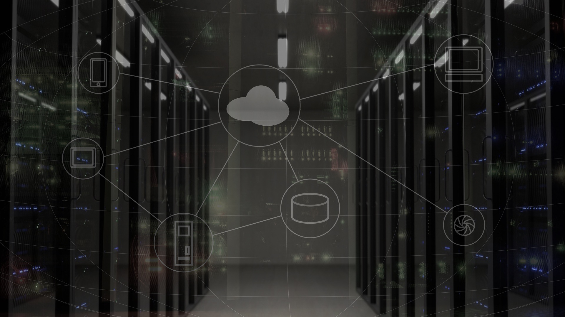 servers with cloud computing icons overlaid